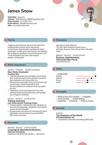 Plantilla de currículum Bubbles realizada por el creador de currículums de Kickresume