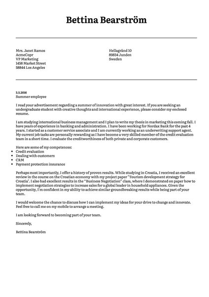 Example of a modern cover letter template designed specifically for job seekers that prefer a more formal, conservative look