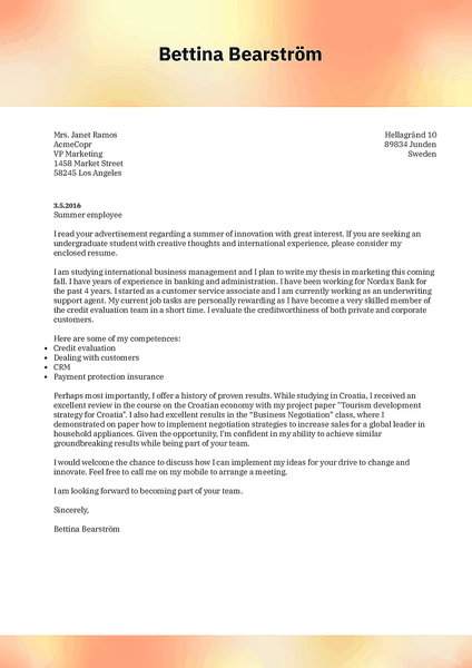 Cover-blurred cover letter template made by Kickresume cover letter builder