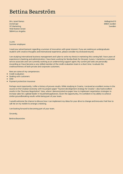 Preview of a simple cover letter template that you can use to create and download your cover letter as PDF