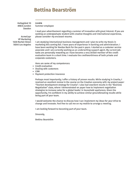 Cover-europe cover letter template made by Kickresume cover letter builder