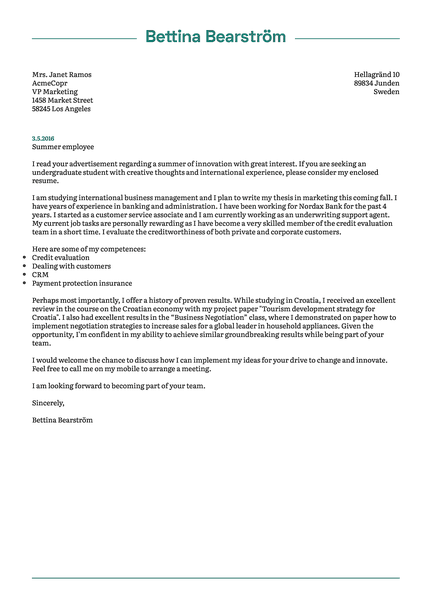 Cover-green cover letter template made by Kickresume cover letter builder