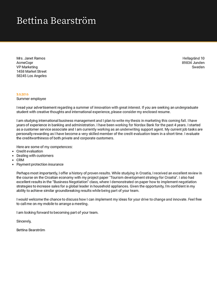 Cover-midday cover letter template made by Kickresume cover letter builder