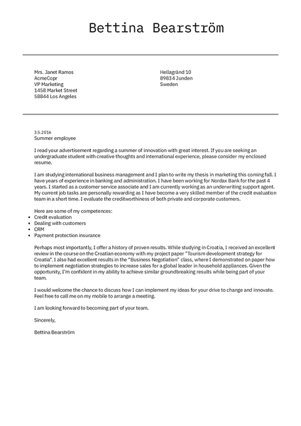 Cover-minimalistic cover letter template made by Kickresume cover letter builder