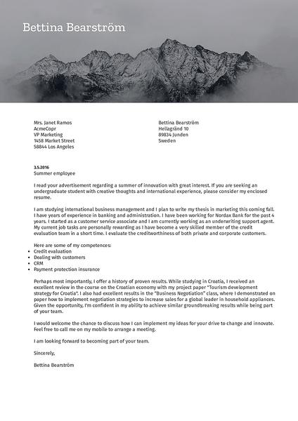 Cover-nature modelo de carta de apresentação feito pelo criador de cartas de apresentação Kickresume