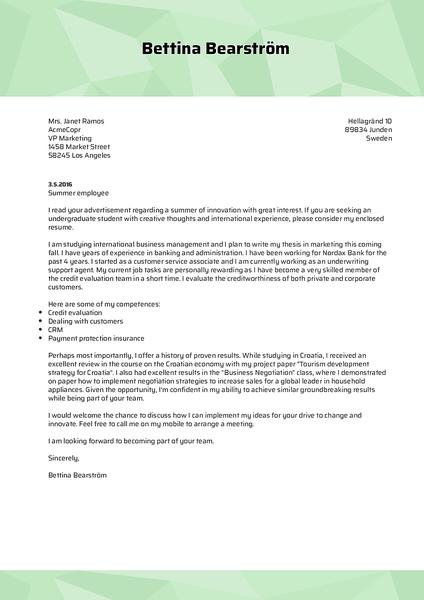 Plantilla de carta de presentación Cover-polygon realizada por el creador de cartas de presentación de Kickresume