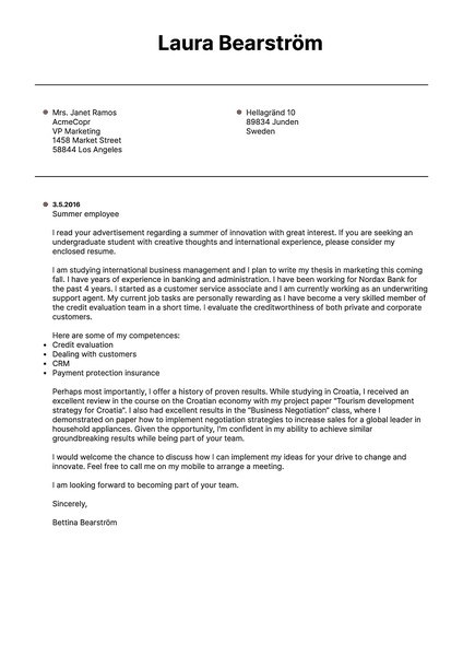 Example of a simple cover letter template designed around beautiful typography and clean formatting