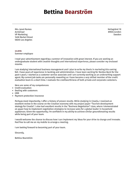 Cover-reed cover letter template made by Kickresume cover letter builder