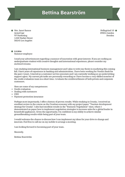 Cover-ribbon cover letter template made by Kickresume cover letter builder