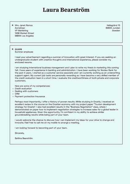 Example of a professional cover letter template with technical feel and retro computer look