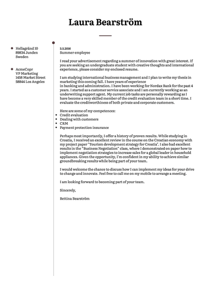 Example of a minimalistic cover letter template that is free for students thanks to Kickresume simple CV creator
