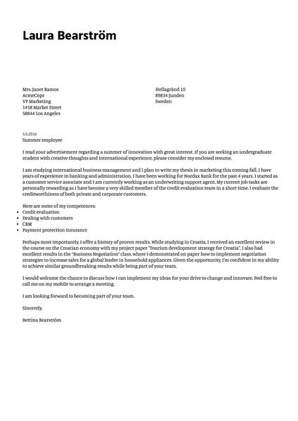Preview of a minimalist cover letter template with simple typography and functional feel