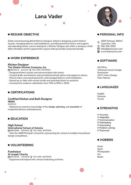 Plantilla de currículum Dotts realizada por el creador de currículums de Kickresume