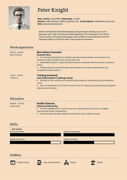 Plantilla de currículum English realizada por el creador de currículums de Kickresume