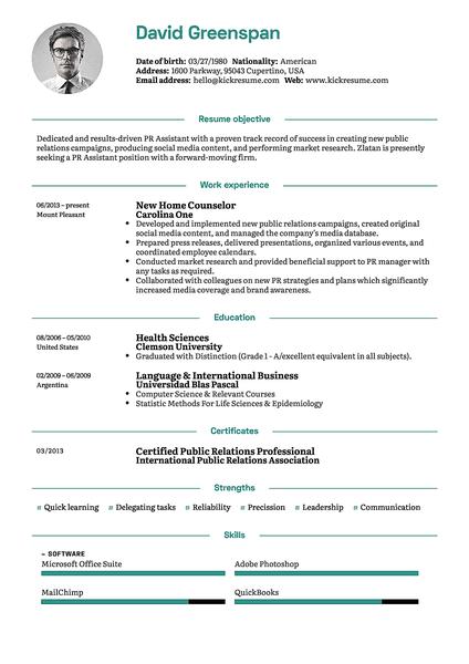 Plantilla de currículum Green realizada por el creador de currículums de Kickresume