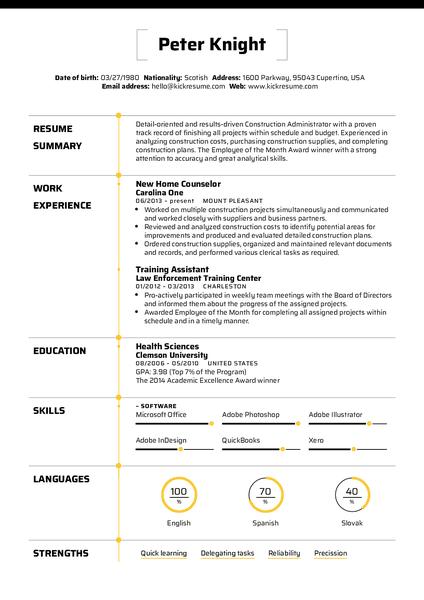Plantilla de currículum Hoth realizada por el creador de currículums de Kickresume