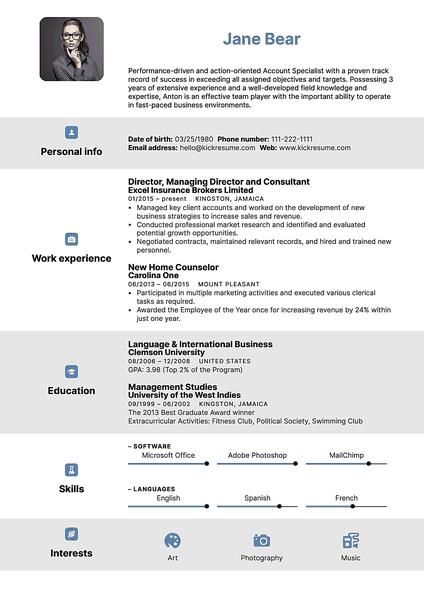 Plantilla de currículum Ios realizada por el creador de currículums de Kickresume