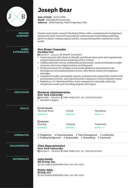 Plantilla de currículum Ladder realizada por el creador de currículums de Kickresume