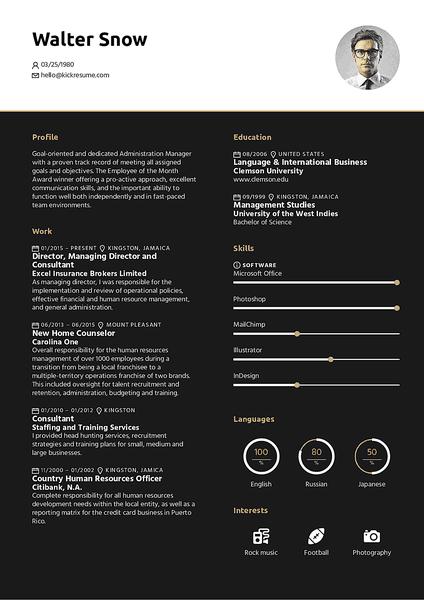Plantilla de currículum Midnight realizada por el creador de currículums de Kickresume
