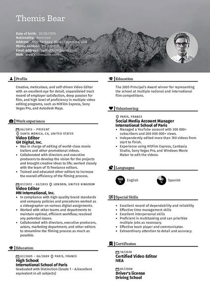 Plantilla de currículum Nature realizada por el creador de currículums de Kickresume