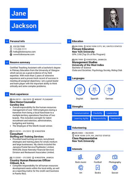 Plantilla de currículum Newsweek realizada por el creador de currículums de Kickresume