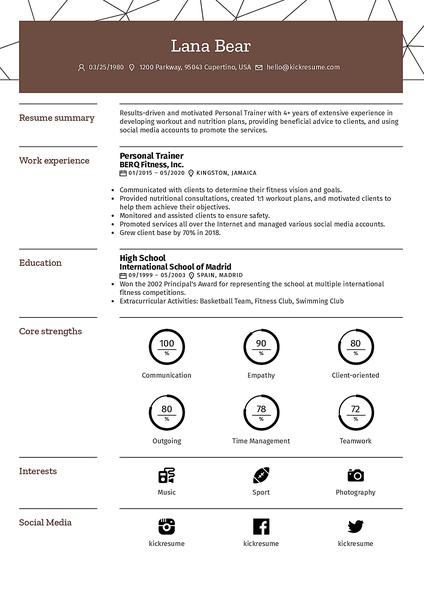Plantilla de currículum Pipeline realizada por el creador de currículums de Kickresume
