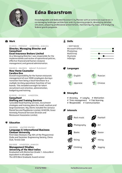 Plantilla de currículum Polygon realizada por el creador de currículums de Kickresume