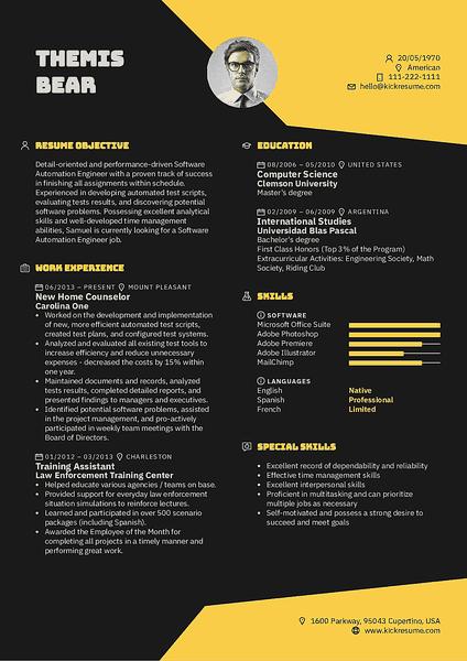 Plantilla de currículum Puddle realizada por el creador de currículums de Kickresume