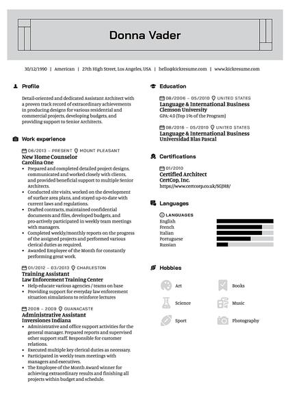 Plantilla de currículum Rectangular realizada por el creador de currículums de Kickresume