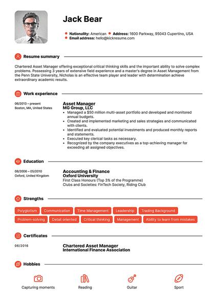 Plantilla de currículum Red realizada por el creador de currículums de Kickresume