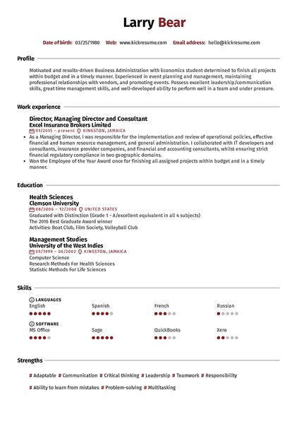 Plantilla de currículum Reed realizada por el creador de currículums de Kickresume