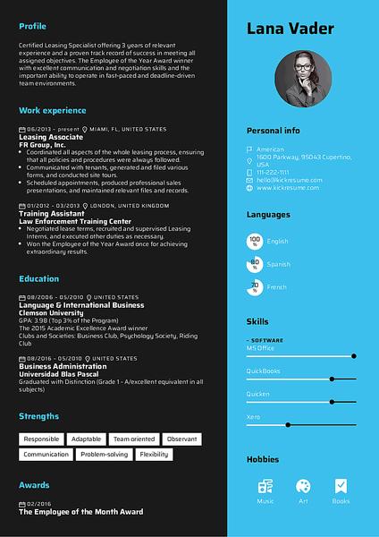 Plantilla de currículum Rhubarb realizada por el creador de currículums de Kickresume