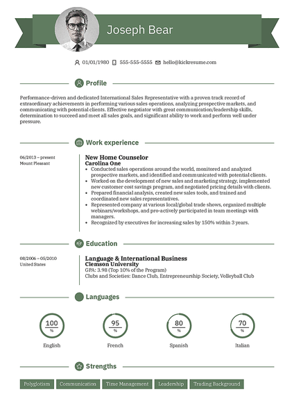 Plantilla de currículum Ribbon realizada por el creador de currículums de Kickresume