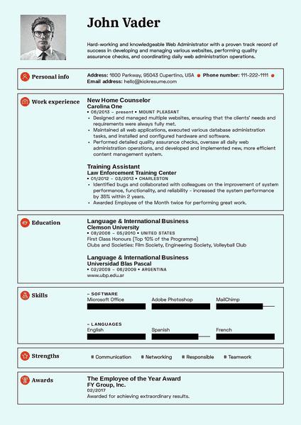 Plantilla de currículum Standard realizada por el creador de currículums de Kickresume