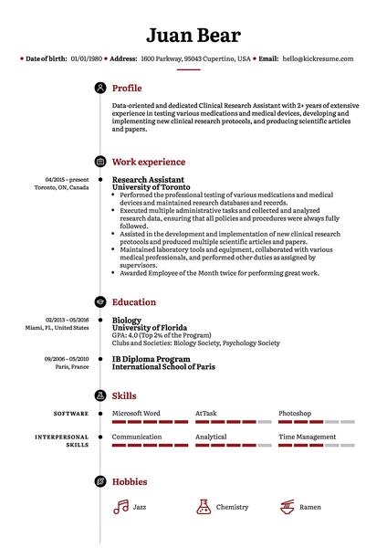 Plantilla de currículum Stanford realizada por el creador de currículums de Kickresume