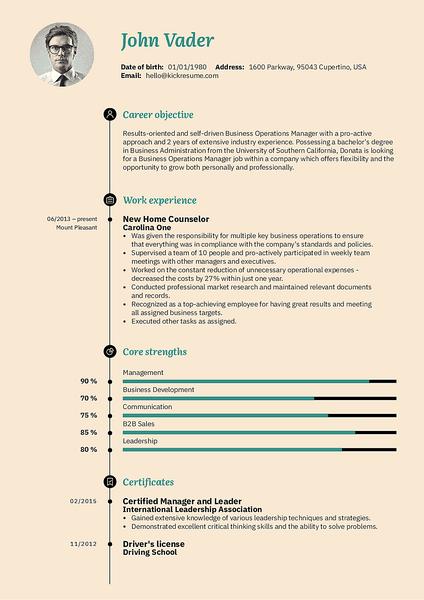 Plantilla de currículum Vegan realizada por el creador de currículums de Kickresume