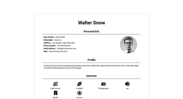 Web-resume website template made by Kickresume website builder