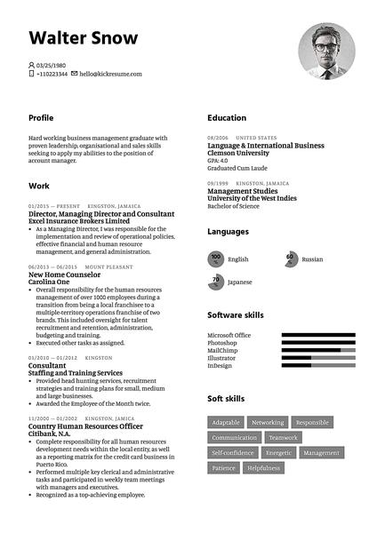 Plantilla de currículum White realizada por el creador de currículums de Kickresume